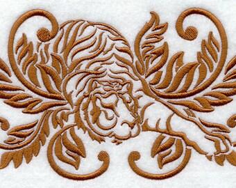 Damask Tiger Embroidered Flour Sack Hand/Dish Towel