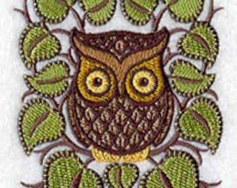 Retro Owl Embroidered Flour Sack Hand/Dish Towel