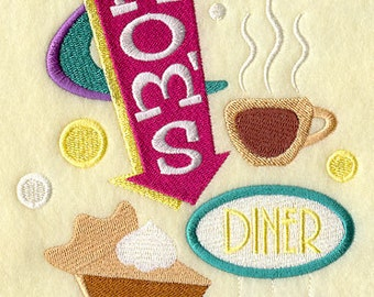 Mom's Diner Embroidered Flour Sack Hand/Dish Towel