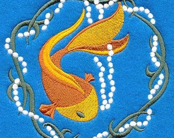 Candlewicking Goldfish with Pearls Embroidered Flour Sack Hand/Dish Towel