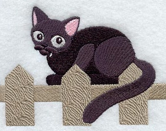 Halloween Kitty on Fence Embroidered Flour Sack Hand/Dish Towel