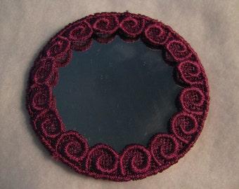 Fleur de Lis Lace Maroon Pocket Mirror
