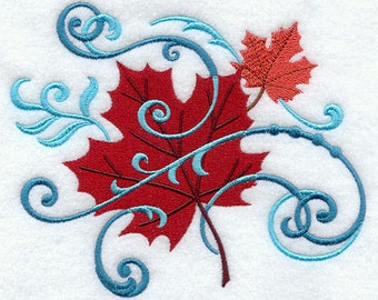 Filigree Maple Leaves Embroidered Flour Sack Hand Towel