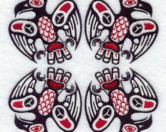 Creation Ravens Square Native American Culture Embroidered Flour Sack Hand/Dish Towel