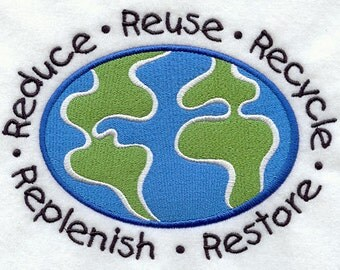 Reduce Reuse Recycle Embroidered Flour Sack Hand/Dish Towel