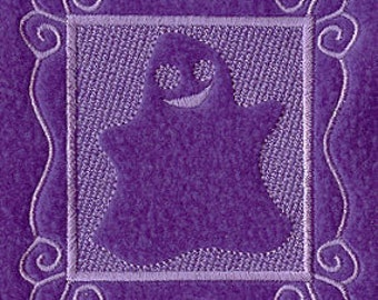 Ghost Embossed Square Embroidered Flour Sack Hand/Dish Towel