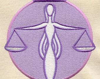 Libra Astrology Embroidered Flour Sack Hand/Dish Towel