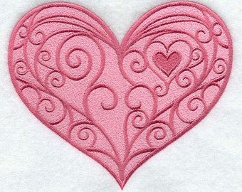 Loving Hearts Embroidered Flour Sack Hand/DIsh Towel