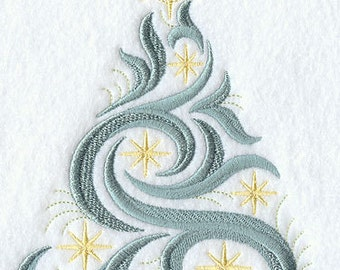 Swirling Christmas Tree Embroidered Flour Sack Hand/Dish Towel