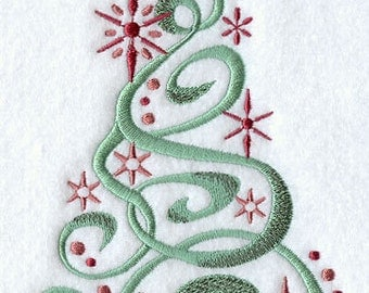Snowy Christmas Tree Embroidered Flour Sack Hand/Dish Towel