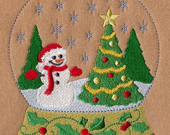 Winter Snowman Snow globe Embroidered Flour Sack Hand/Dish Towel