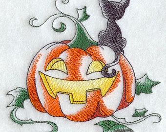 Halloween Kitty with Pumpkin Embroidered Flour Sack Hand/Dish Towel