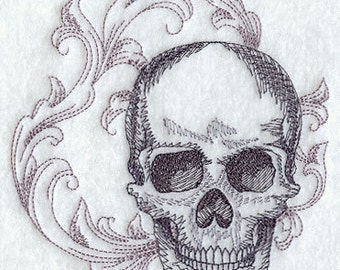 Baroque Skull Embroidered Flour Sack Hand/Dish Towel