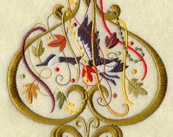 Spangled Fall Goose Embroidered Flour Sack Hand/Dish Towel