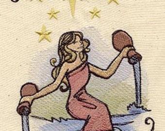 The Star- Tarot Card Line Embroidered Flour Sack Hand/Dish Towel