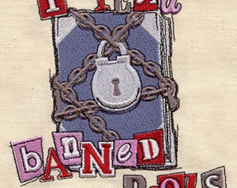 I Read Banned Books Embroidered Flour Sack Hand/Dish Towel