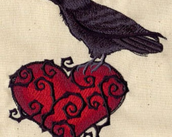 Raven Heart Embroidered Flour Sack Hand/Dish Towel