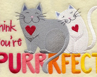 I Think You're Purrrfect Embroidered Flour Sack Hand/DIsh Towel