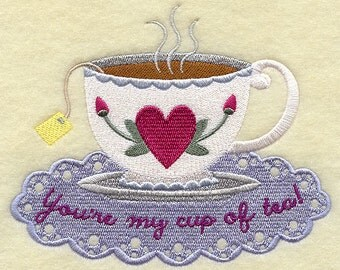You're My Cup of Tea Embroidered Flour Sack Hand/DIsh Towel