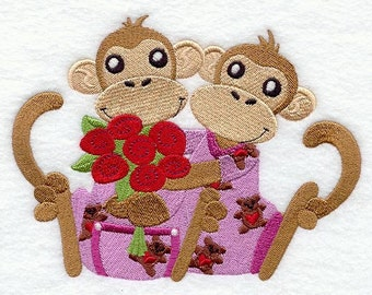 Valentines Monkeys in PJs Embroidered Flour Sack Hand/Dish Towel