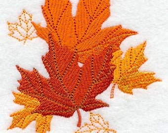 Maple Leaves Embroidered Flour Sack Hand Towel