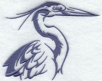 Northwoods Silhouette Heron Embroidered Flour Sack Hand/Dish Towel
