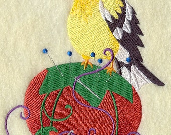 Crafty Goldfinch with Pin Cushion Embroidered Flour Sack Hand/Dish Towel