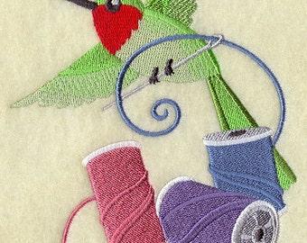 Crafty Hummingbird with Spools of Thread Embroidered Flour Sack Hand/Dish Towel