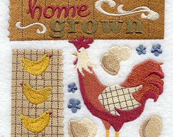 Home Grown Rooster Embroidered Flour Sack Hand/Dish Towel