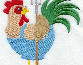 Farmer Rooster Embroidered Flour Sack Hand/Dish Towel