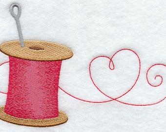 Thread Heart Embroidered Flour Sack Hand/Dish Towel