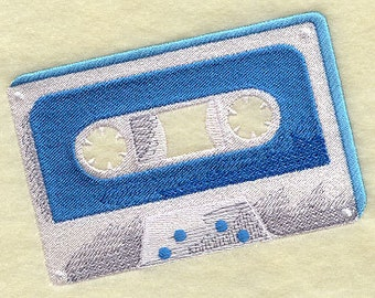 Retro Cassette Embroidered Flour Sack Hand/Dish Towel