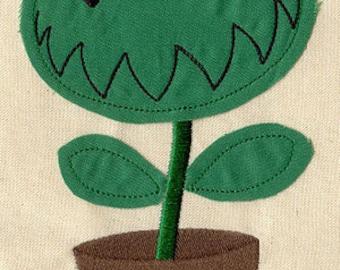 Venus Flytrap FLEECE APPLIQUE Embroidered Flour Sack Hand/Dish Towel