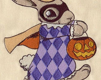 Vintage Halloween Bunny Embroidered Flour Sack Hand/Dish Towel
