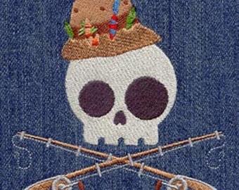 Fisherman Skully Embroidered Flour Sack Hand/Dish Towel