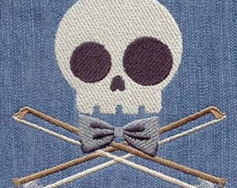 Musician Skully Embroidered Flour Sack Hand/Dish Towel