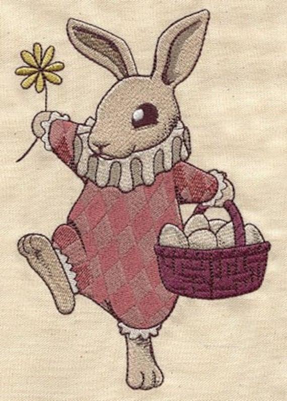 Vintage Easter Egg Bunny Scene Embroidered Flour Sack Hand/Dish Towel