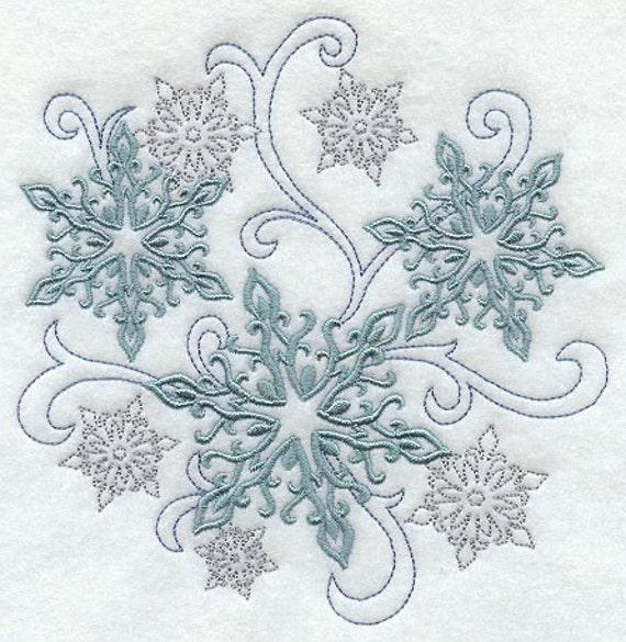 snowflake swirls embroidered flour sack hand dish towel. Black Bedroom Furniture Sets. Home Design Ideas