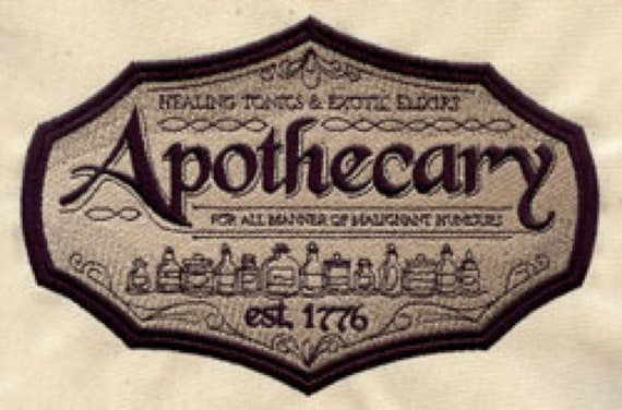 Apothecary Embroidered Flour Sack Hand/Dish Towel