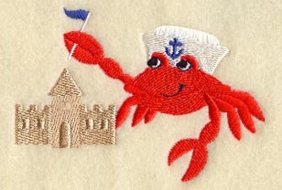Captain Beach Crab Embroidered Flour Sack Hand/Dish Towel