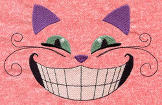 Cheshire Grin Alice in Wonderland Embroidered Flour Sack Hand/Dish Towel