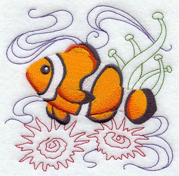 Clownfish Under the Sea Embroidered Flour Sack Hand/Dish Towel