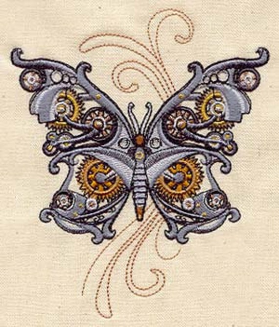 Steam Motifs Steampunk Butterfly Embroidered Flour Sack