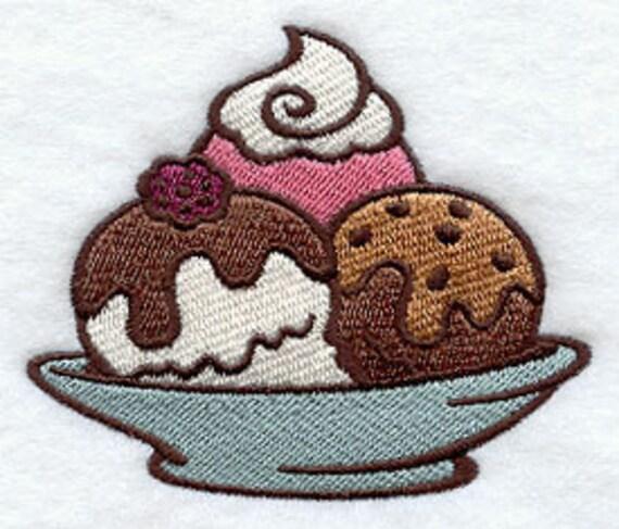 Delectable Ice Cream Sundae Embroidered Flour Sack Hand/Dish Towel