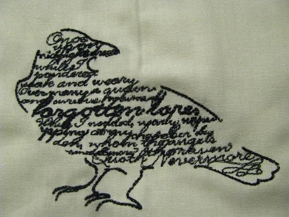 Edgar Allan Poe Raven Poem Embroidered Flour Sack Hand/Dish Towel