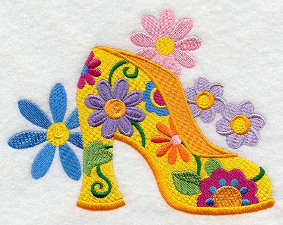 Groovy Flower Power Shoe Embroidered Flour Sack Hand/Dish Towel