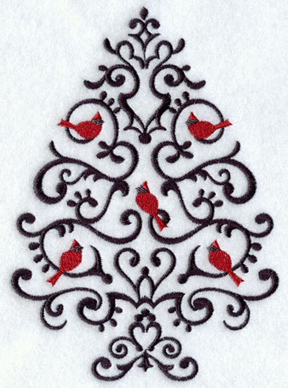 Wrought Iron Christmas Tree Embroidered Flour Sack Hand/Dish Towel