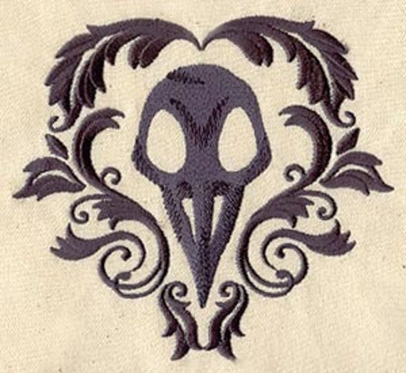 Raven Bird Skull Embroidered Flour Sack Hand/Dish Towel