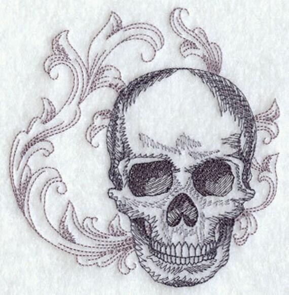 Baroque Skull Embroidered Flour Sack Hand/Dish Towel
