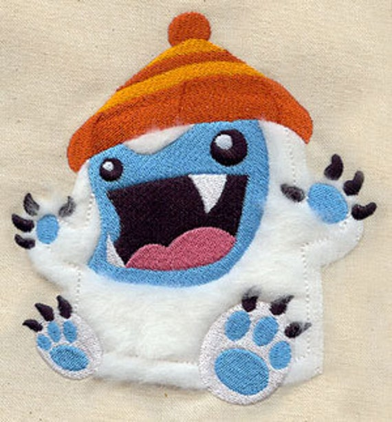 Yeti/Abominable Snowman APPLIQUE Embroidered Flour Sack Hand/Dish Towel